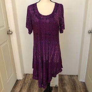 NWT! Greater Good purple black tunic   Free Size